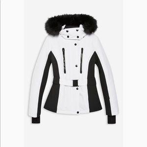 Topshop monochrome Faux fur trim jacket 10US